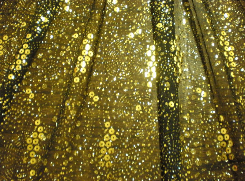 1.Gold-Black Dance Glitter Mesh