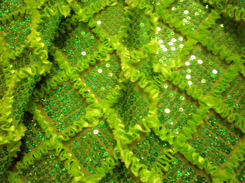1.Green Diamond Shape With Ribbon Sequins