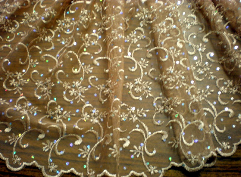 1.Nude Sequins Lace
