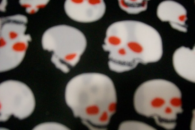 1. Black-White Red Eye Skull Print