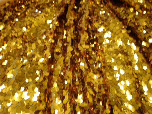 1.Vegas #2 Gold All Over Stretch Sequins Fabrics on Mesh