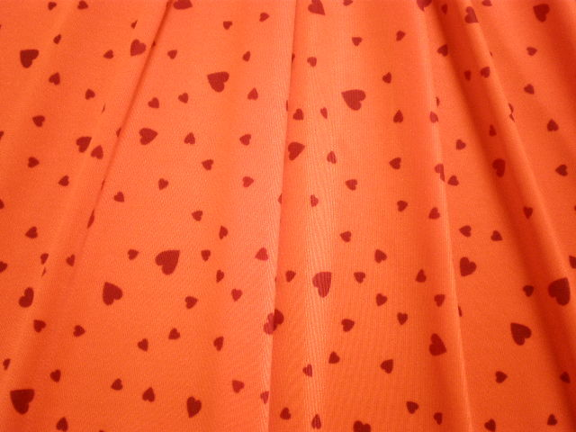 12.Orange-Red Candy Heart Special Printed Spandex