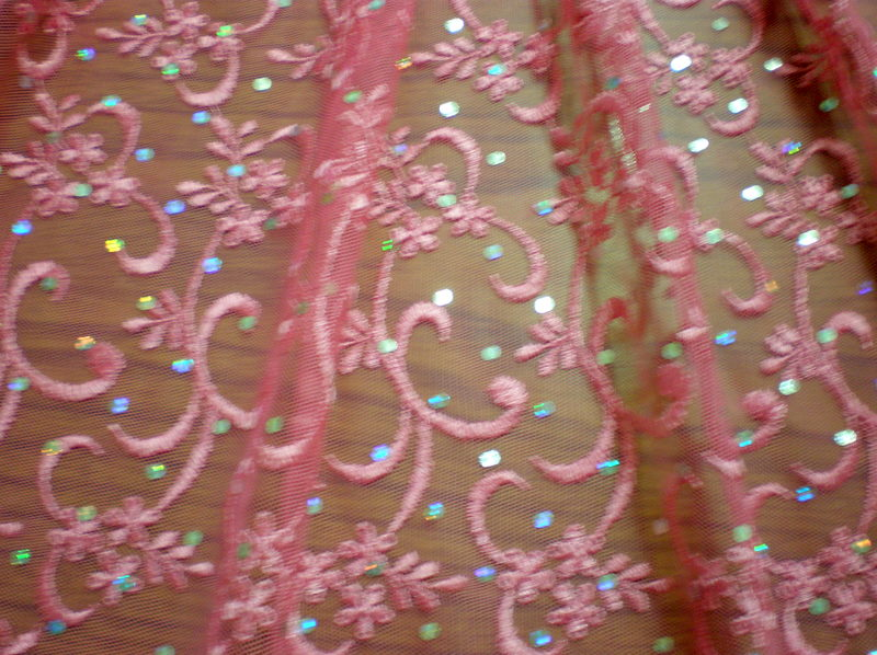 2.Deep Pink Sequins Lace