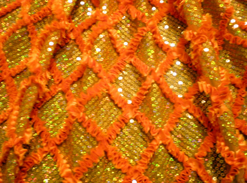 2.Orange Diamond Shape Sequins With Ribbon