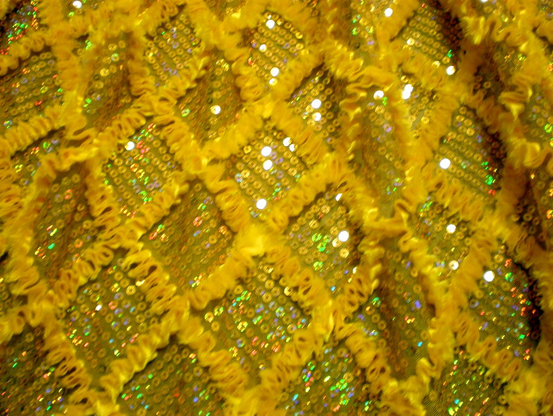 3.Yellow Diamond Shape Sequins With Ribbon