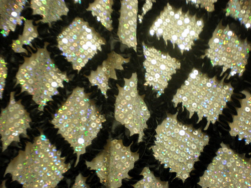4.Silver-Black Diamond Shape Sequins with Ribbon