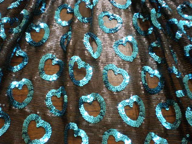 4.Turquoise Angel Heart Sequins