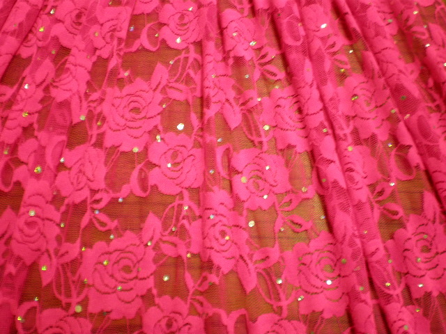 7. Neon Pink-Silver Romance Flower Lace With Sequins