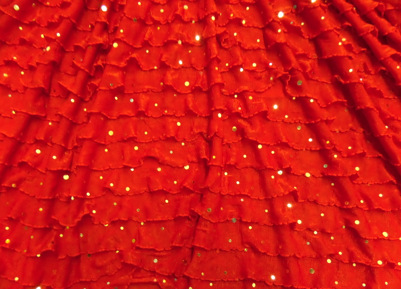 7.Red-Silver Salsa Ruffle With Sequins