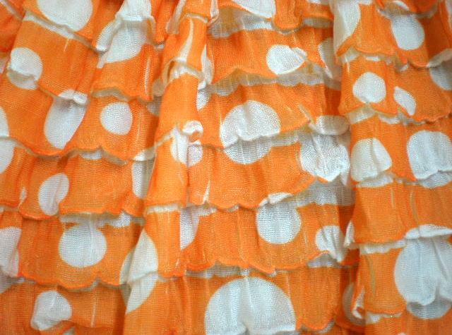 7.Orange-White Polka Dot Ruffles