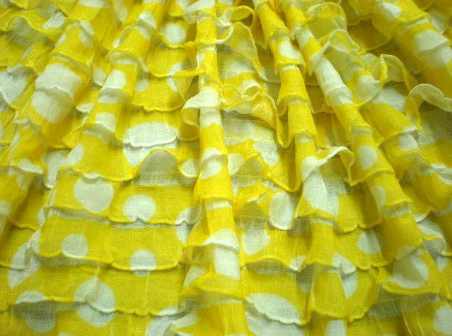 5.Yellow-White Polka Dot Ruffles
