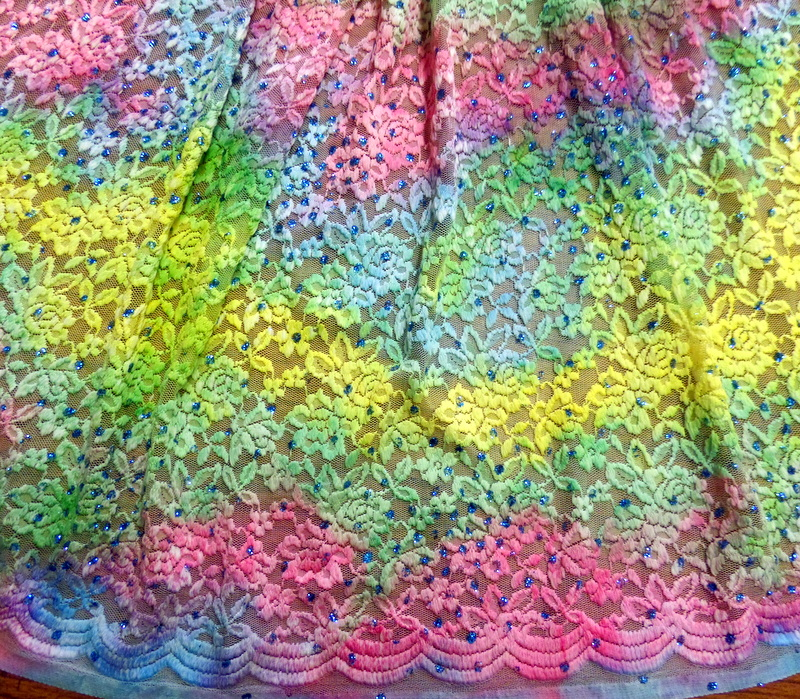 1.Yellow-Turquoise-Pink Glitter Lace#3
