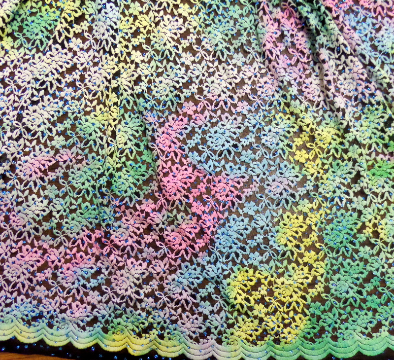 2.Yellow-Turquoise-Pink Black background Glitter Lace#3