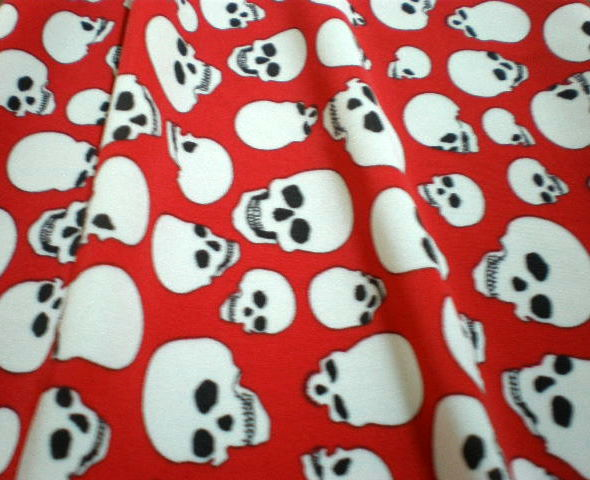 3. Red-White Black Eye Skull Print